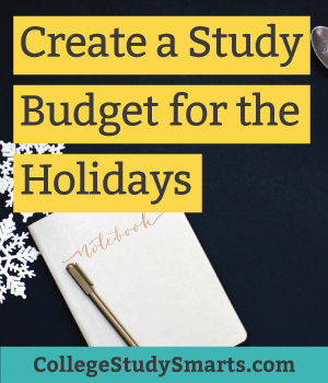 Create a study budget for the holidays | collegestudysmarts.com