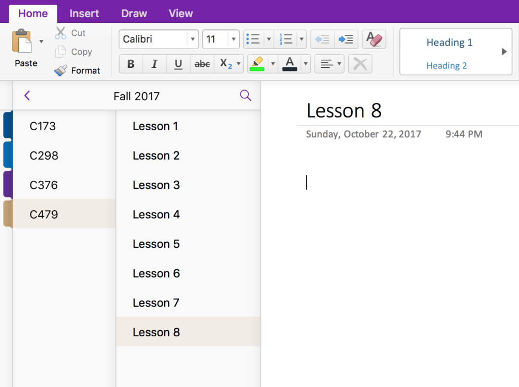 Organize OneNote by course and topic