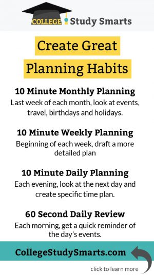 Create Great Planning Habits by implementing 10 minute monthly planning, 10 minute weekly planning, 10- minute daily planning, and 60-second daily review
