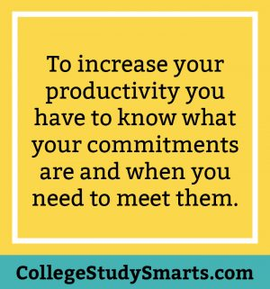 To increase your productivity you have to know what your commitments are and when you need to meet them.