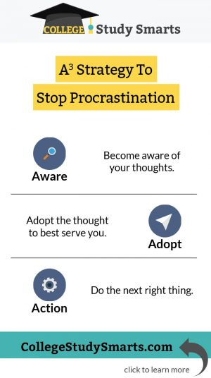 A3 Strategy To Stop Procrastination: Aware, Adopt, Action
