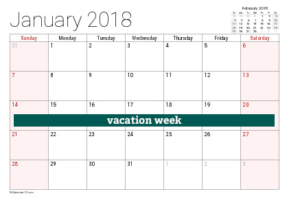 vacation calendar example