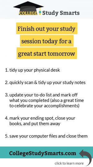 Finish out your study session today for a great start tomorrow